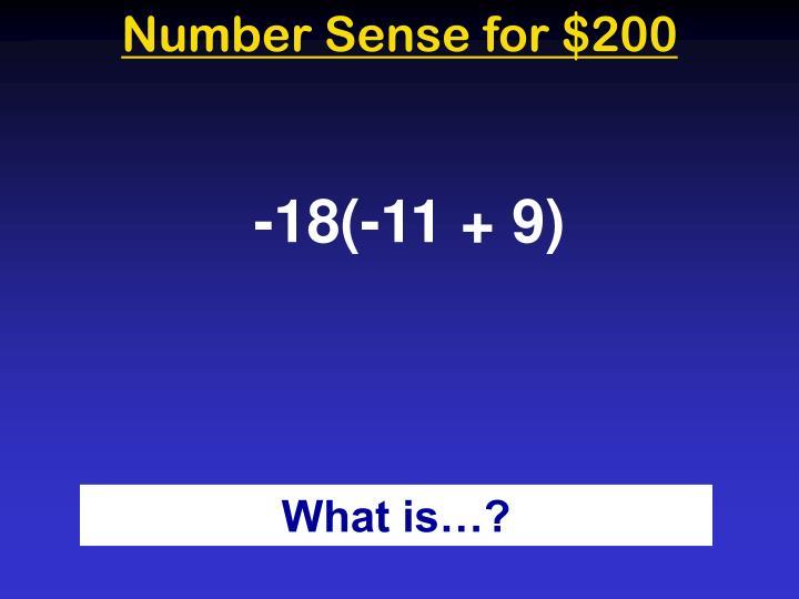 Number Sense for $200