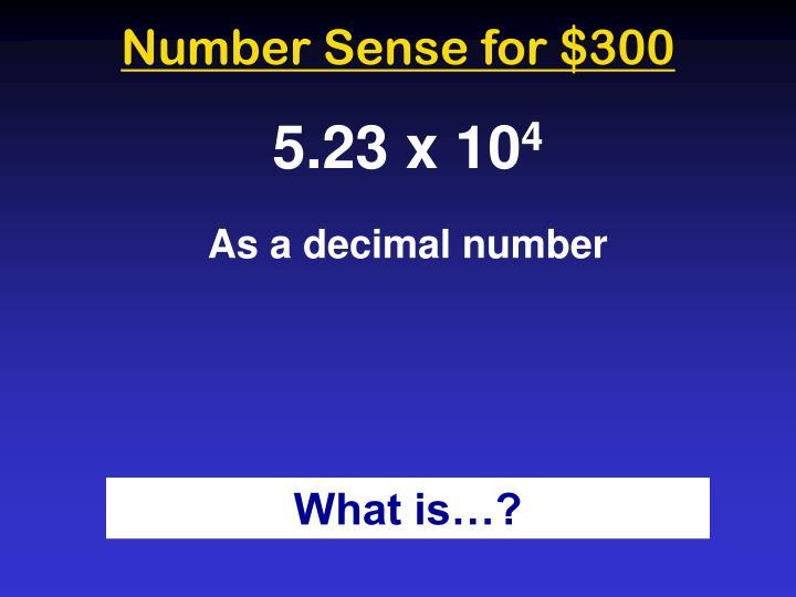 Number Sense for $300
