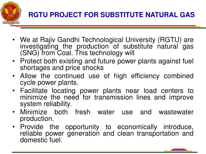 RGTU PROJECT FOR SUBSTITUTE NATURAL GAS