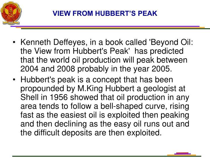 VIEW FROM HUBBERT'S PEAK