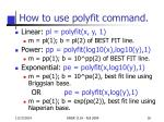 how to use polyfit command