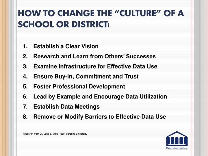 """How To change the """"Culture"""" of a school or"""