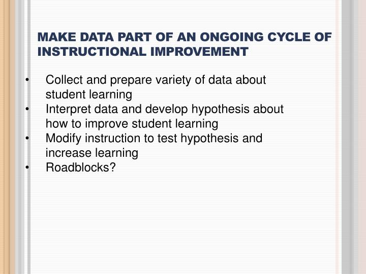MAKE DATA PART OF AN ONGOING CYCLE OF INSTRUCTIONAL IMPROVEMENT