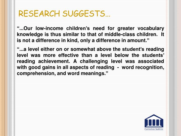Research Suggests…