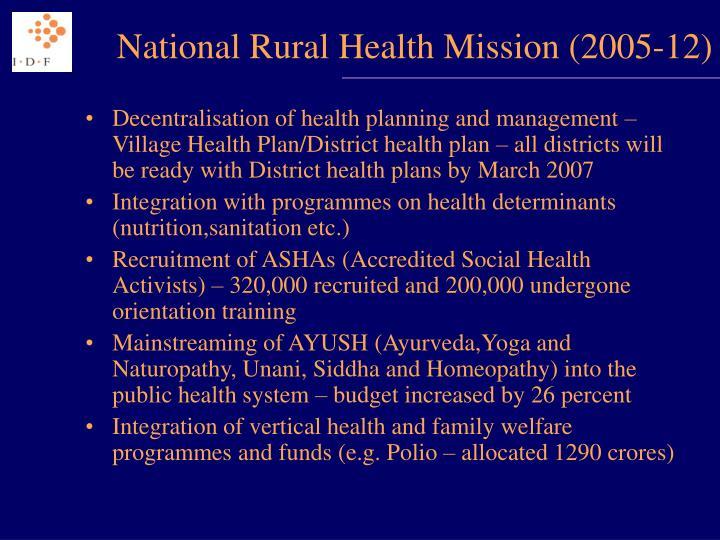 National Rural Health Mission (2005-12)