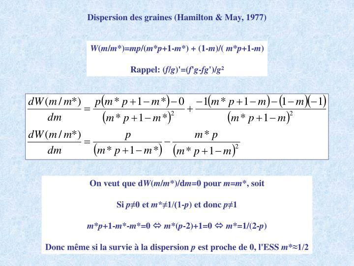Dispersion des graines (Hamilton & May, 1977)