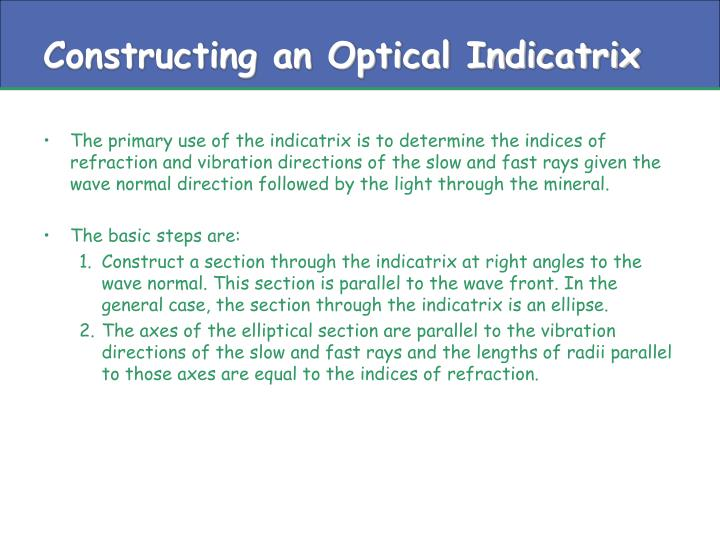 Constructing an optical indicatrix