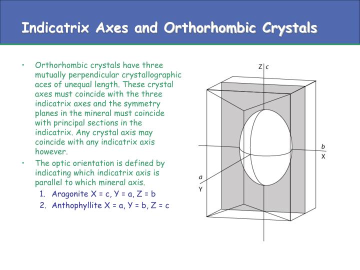 Indicatrix Axes and Orthorhombic Crystals