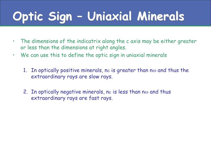 Optic Sign – Uniaxial Minerals