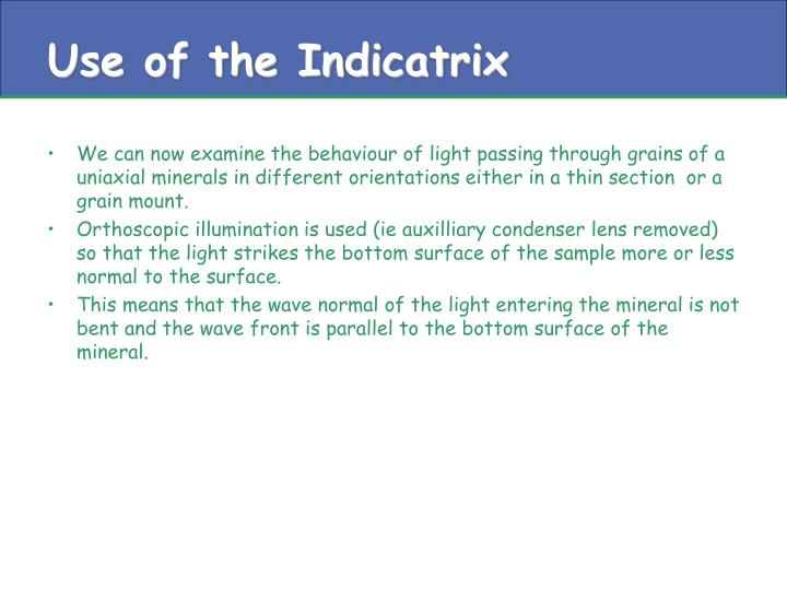 Use of the Indicatrix