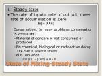 state of mixing steady state