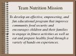 team nutrition mission
