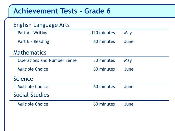 Achievement Tests - Grade 6