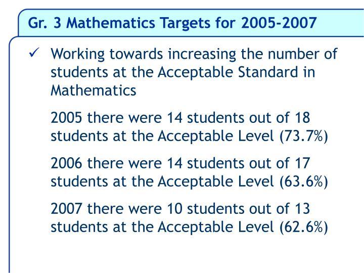 Gr. 3 Mathematics Targets for 2005-2007