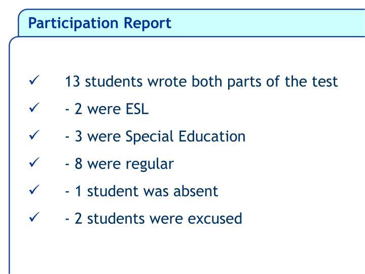 Participation Report