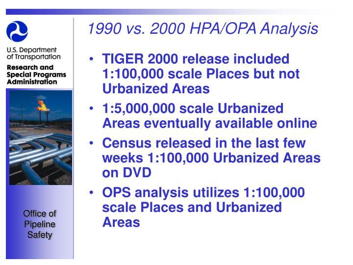 1990 vs. 2000 HPA/OPA Analysis
