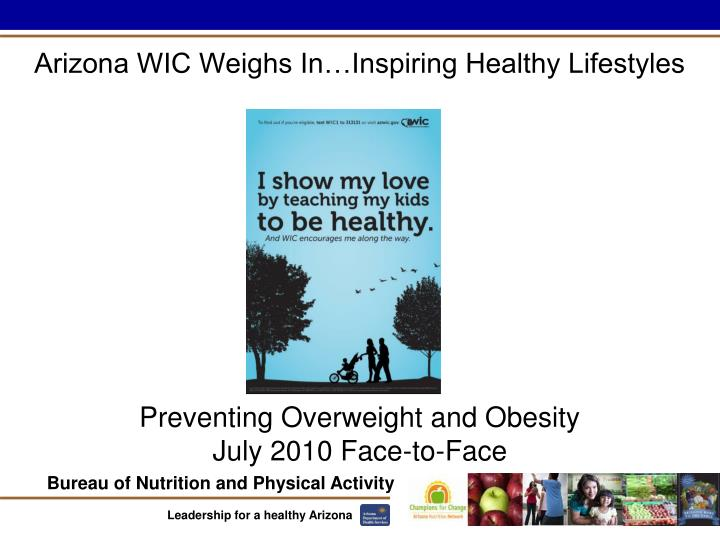 Preventing overweight and obesity july 2010 face to face