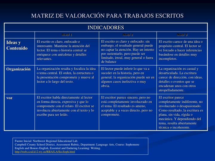 MATRIZ DE VALORACIÓN PARA TRABAJOS ESCRITOS