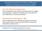 deinstitutionalization of status offenders dso core requirement of the jjdpa