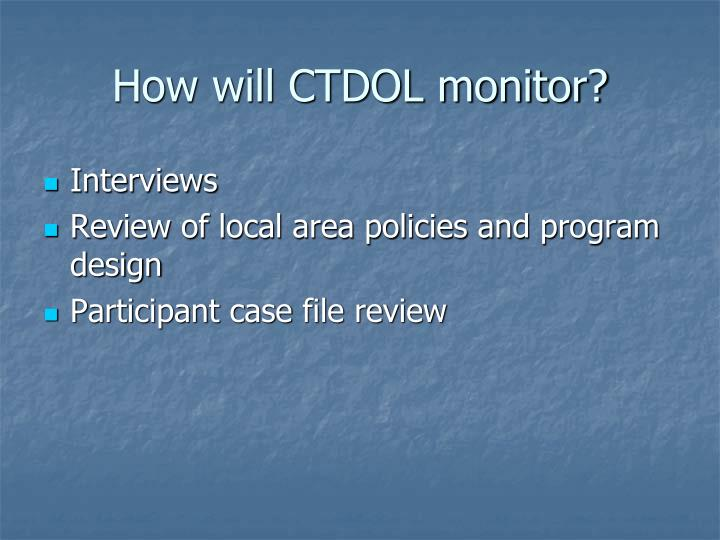 How will CTDOL monitor?