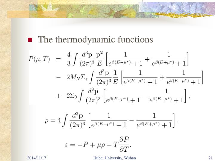 The thermodynamic functions