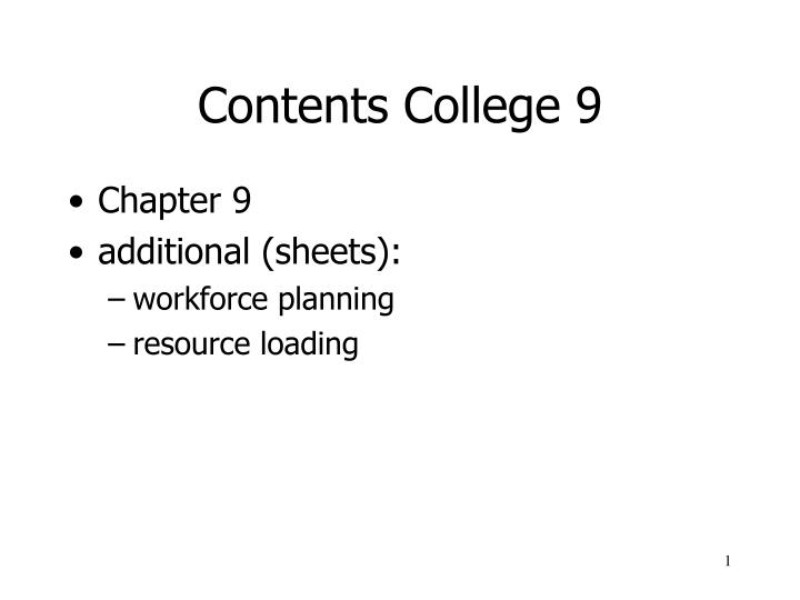 contents college 9 n.
