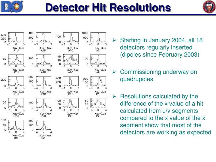 Detector Hit Resolutions