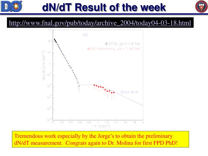 dN/dT Result of the week