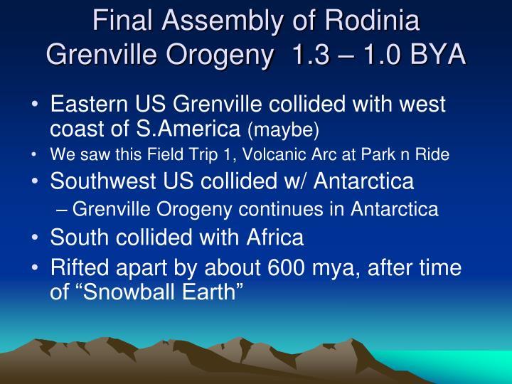 Final Assembly of Rodinia