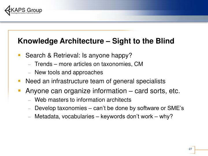 Knowledge Architecture – Sight to the Blind