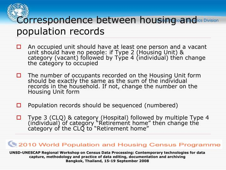Correspondence between housing and population records