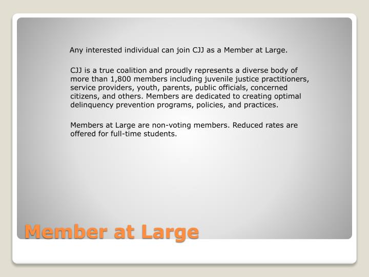 Any interested individual can join CJJ as a Member at Large.