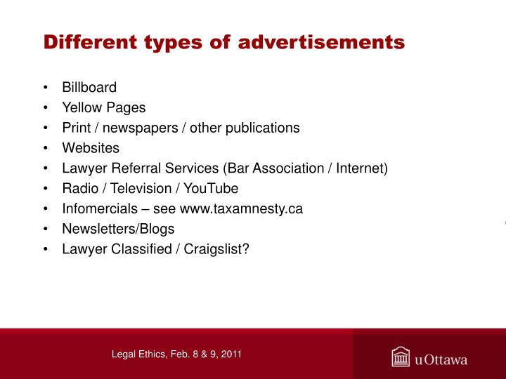 Different types of advertisements