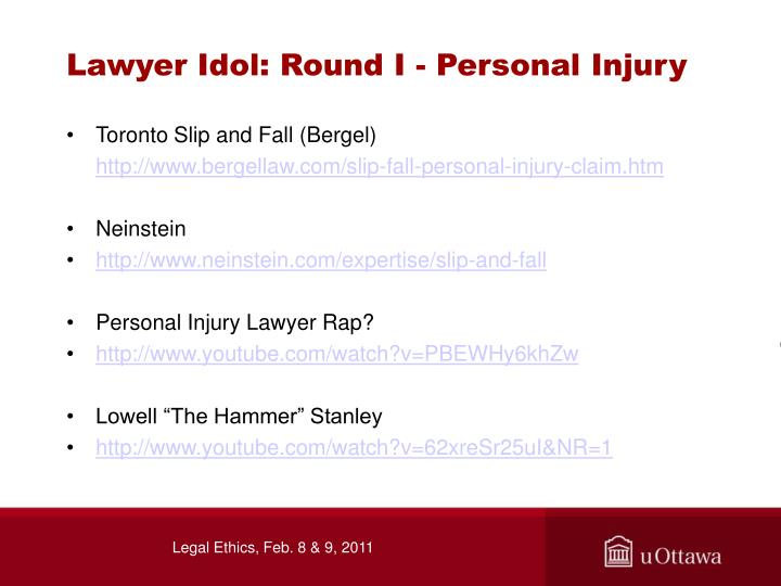 Lawyer Idol: Round I - Personal Injury