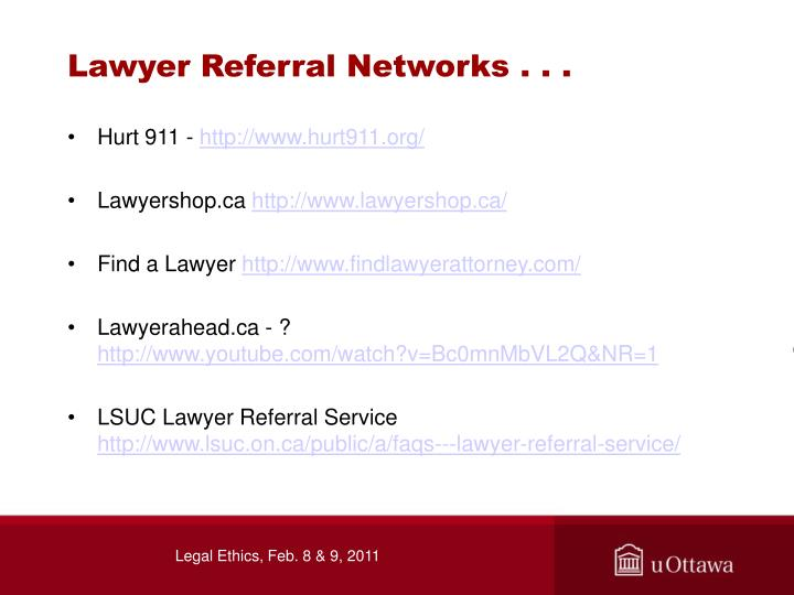 Lawyer Referral Networks . . .