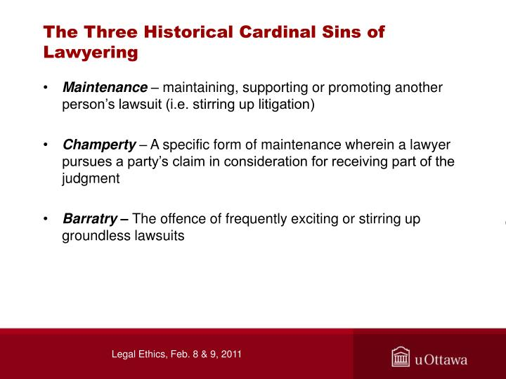 The Three Historical Cardinal Sins of Lawyering
