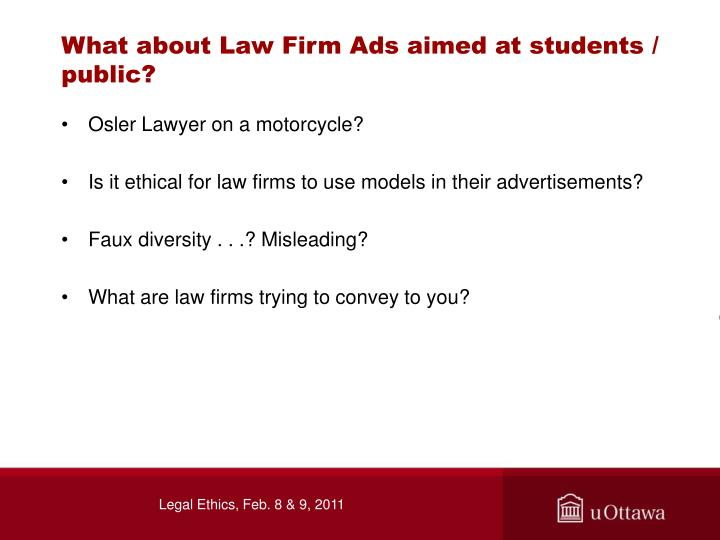 What about Law Firm Ads aimed at students / public?