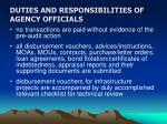 duties and responsibilities of agency officials