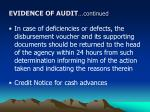 evidence of audit continued