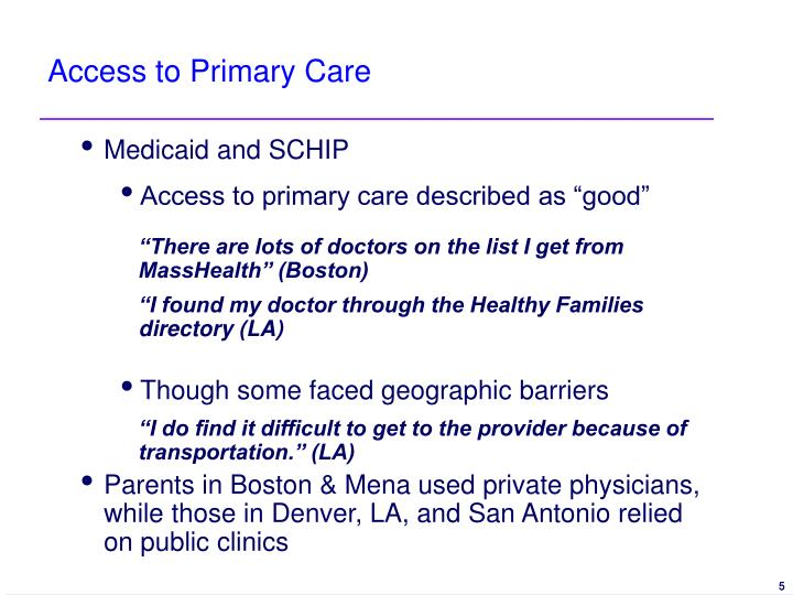 Access to Primary Care