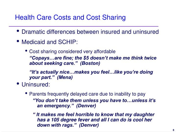 Health Care Costs and Cost Sharing