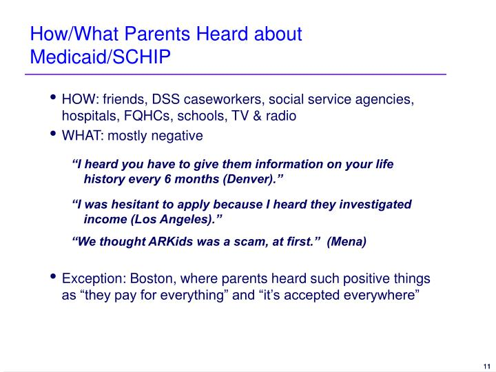 How/What Parents Heard about Medicaid/SCHIP