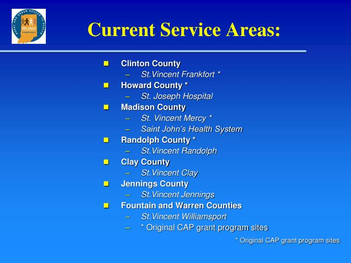 Current Service Areas: