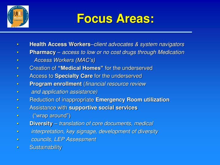 Focus Areas: