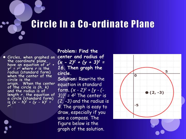 Circle In a Co-ordinate Plane