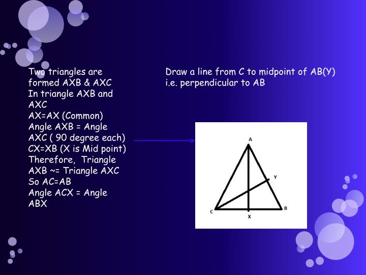 Two triangles are formed AXB & AXC