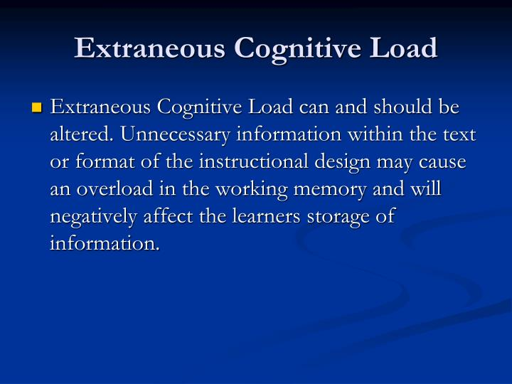Extraneous Cognitive Load