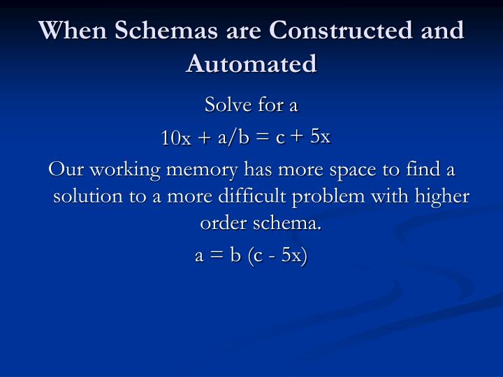 When Schemas are Constructed and Automated