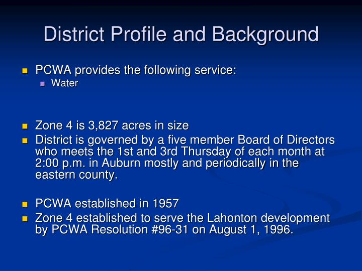 District Profile and Background