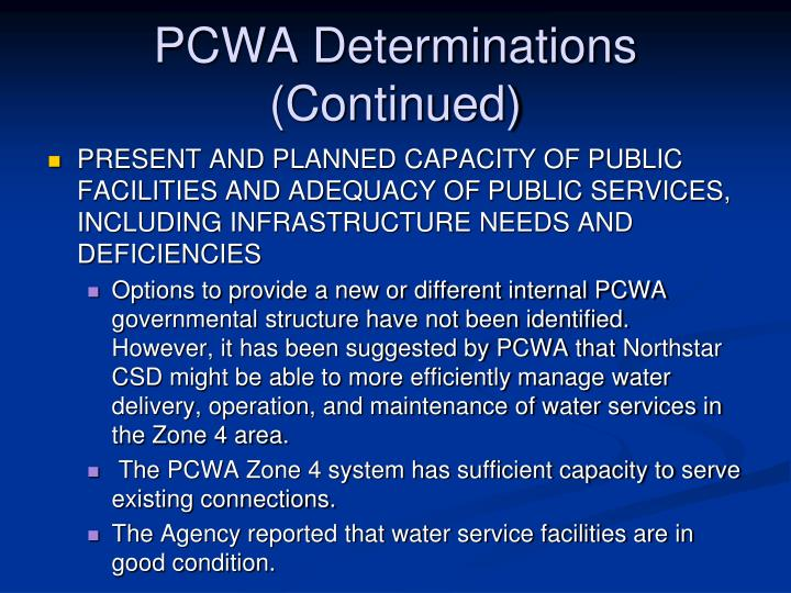 PCWA Determinations (Continued)
